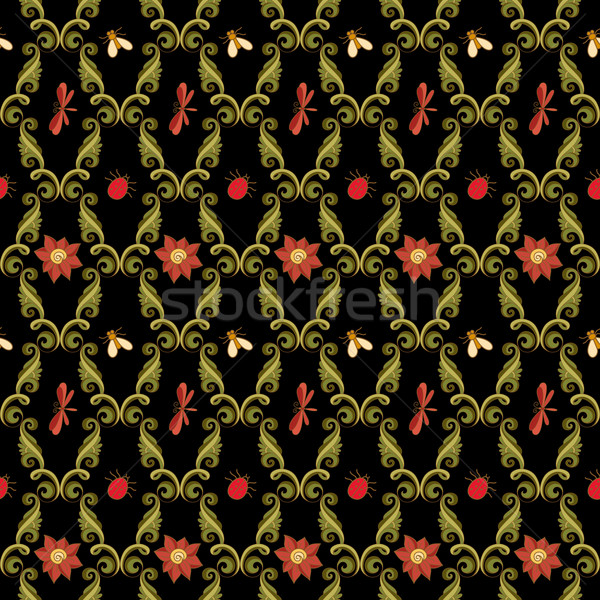 Foto stock: Vetor · sem · costura · floral · padrão · textura