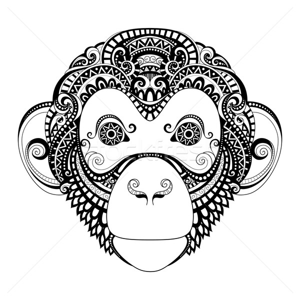 Vektor Maymun Kafa Kabile Tek Renkli Vektor