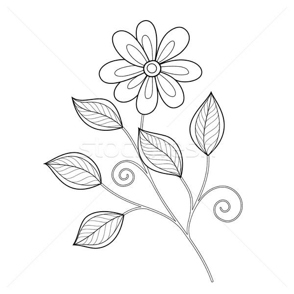 Stockfoto: Vector · mooie · monochroom · contour · bloem · vector · bloem