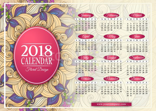 Zdjęcia stock: Kolorowy · rok · kalendarza · prostokątny · szablon · piękna