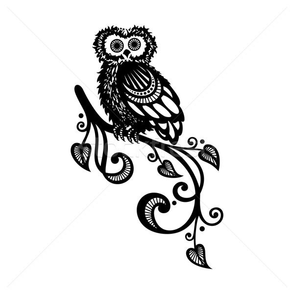 Stockfoto: Vector · decoratief · uil · tak · vogel