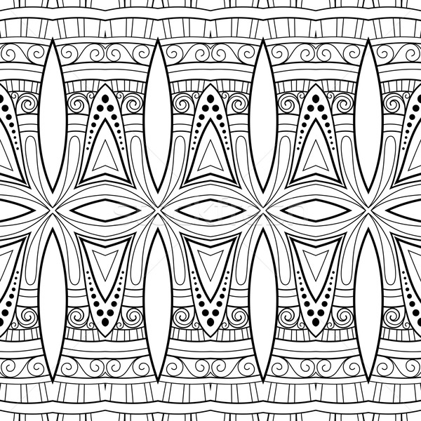 Vector naadloos abstract zwart wit Tribal patroon Stockfoto © lissantee