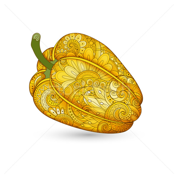 Vector Colored Decorative Bell Pepper with Beautiful Pattern Stock photo © lissantee