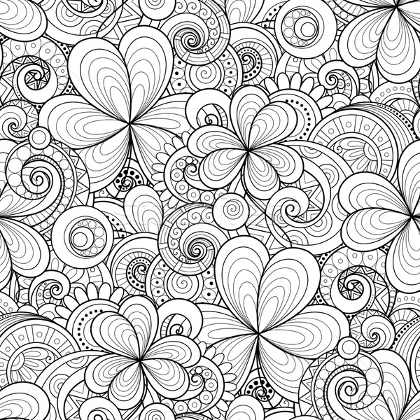 Vector Seamless Monochrome Floral Pattern with Decorative Clover Stock photo © lissantee