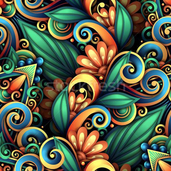 Vektor színes végtelen minta virágmintás dísz kézzel rajzolt Stock fotó © lissantee