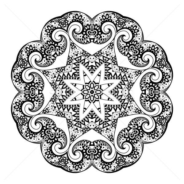 Vector Beautiful Deco Black Mandala Stock photo © lissantee