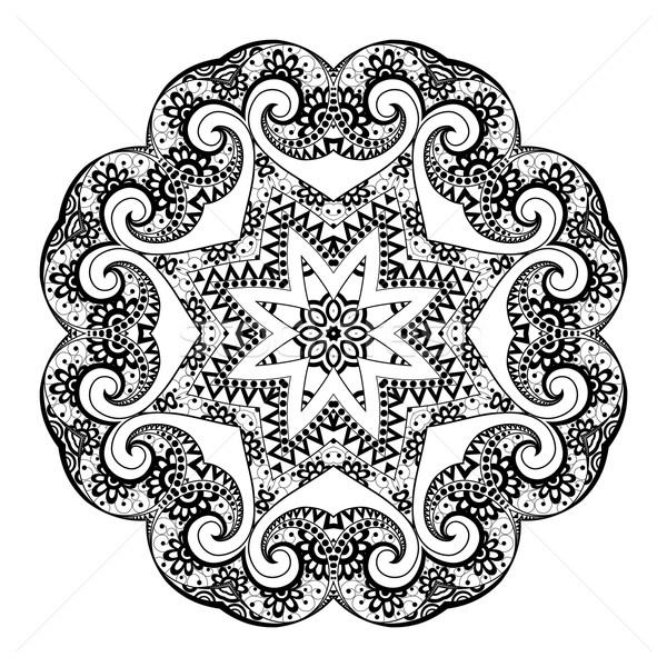 Vecteur belle noir mandala ethniques Photo stock © lissantee