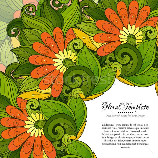 Vektor színes virágmintás sablon hely szöveg Stock fotó © lissantee