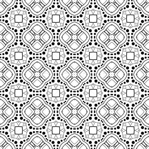 Foto stock: Vector · sin · costura · vintage · blanco · negro · dibujado · a · mano