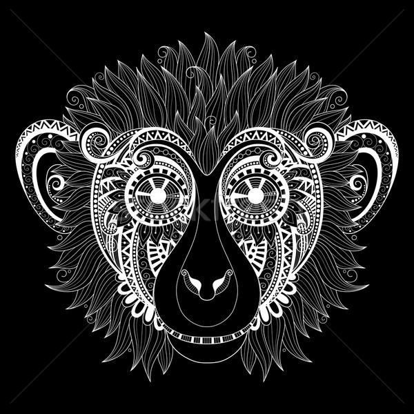 Vector Ornate Monkey Head Stock photo © lissantee