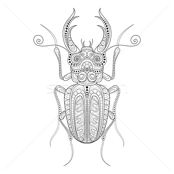 Vector Decorative Ornate Beetly, Lucanus Cervus Stock photo © lissantee