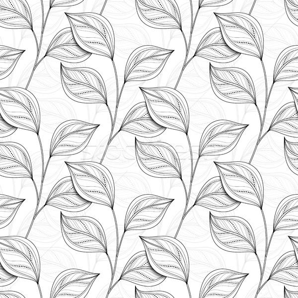 Foto stock: Vetor · monocromático · sem · costura · floral · padrão