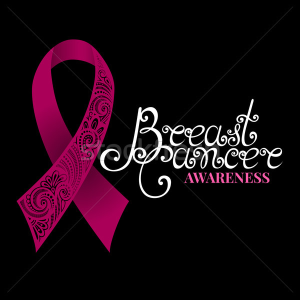 Vector Ornate Pink Ribbon of Breast Cancer on Black Background Stock photo © lissantee