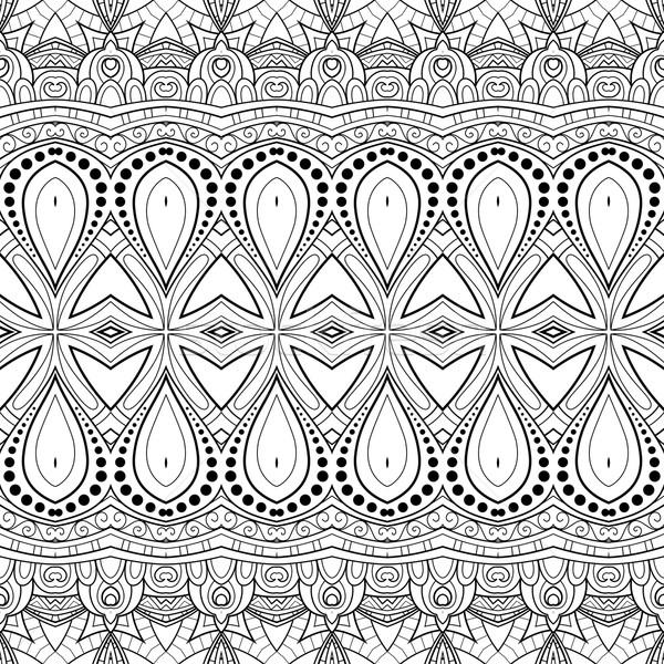 Stock fotó: Vektor · végtelenített · monokróm · díszes · minta · kézzel · rajzolt