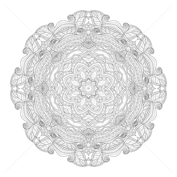 Vector Beautiful Deco Monochrome Contour Mandala Stock photo © lissantee