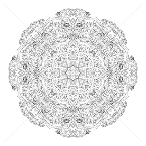 Vecteur belle monochrome contour mandala Photo stock © lissantee