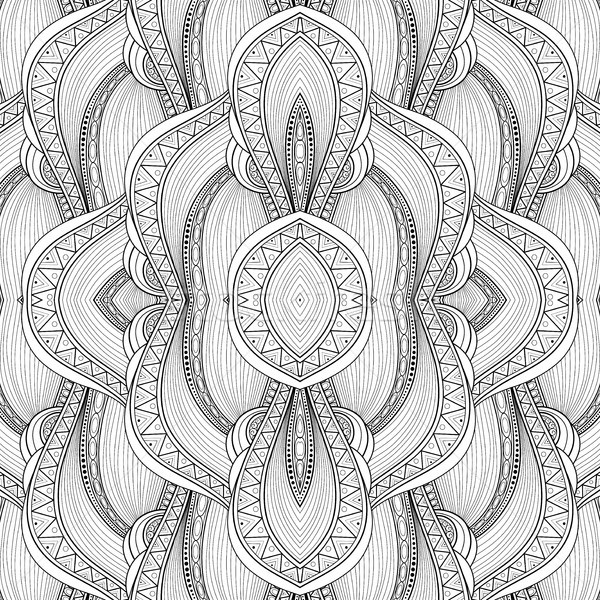 Vector Monochrome Seamless Abstract Tribal Pattern with Waves Stock photo © lissantee