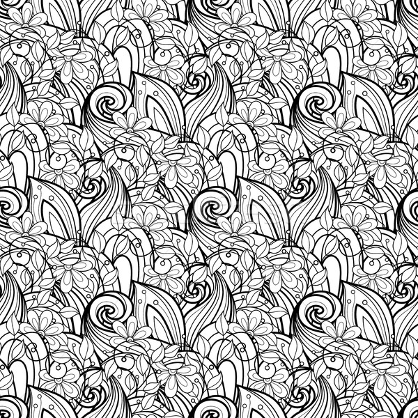 Vector sin costura monocromo floral patrón dibujado a mano Foto stock © lissantee