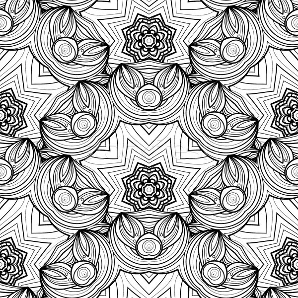 Stock photo: Vector Seamless Monochrome Ornate Pattern