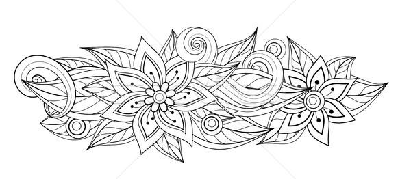 Wektora monochromatyczny kwiatowy owalny Zdjęcia stock © lissantee