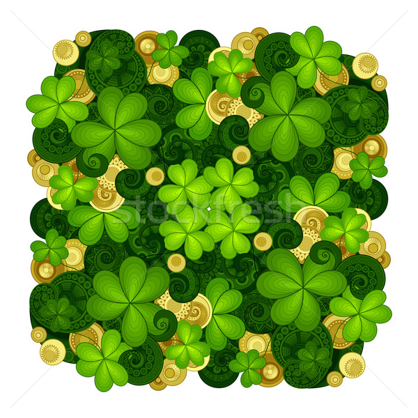 Vector  Hand Drawn Ornament with Decorative Clover and Gold Coin Stock photo © lissantee