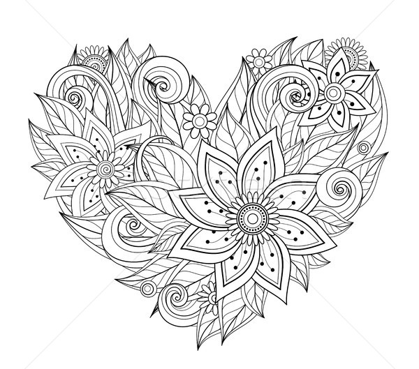 Vector Monochrome Floral Composition in Heart Shape Stock photo © lissantee