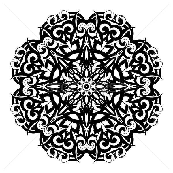 вектора красивой черный мандала этнических Сток-фото © lissantee