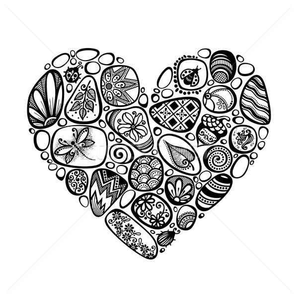 Dekoratif kalp simge deniz süsler Stok fotoğraf © lissantee