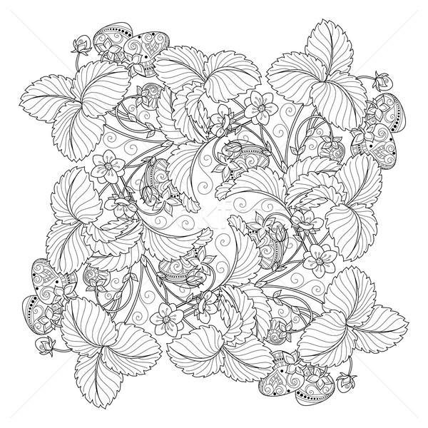Vetor monocromático fruto decorativo morango Foto stock © lissantee