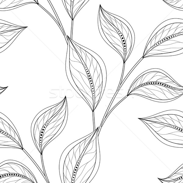 Vector Monochrome Seamless Floral Pattern Stock photo © lissantee