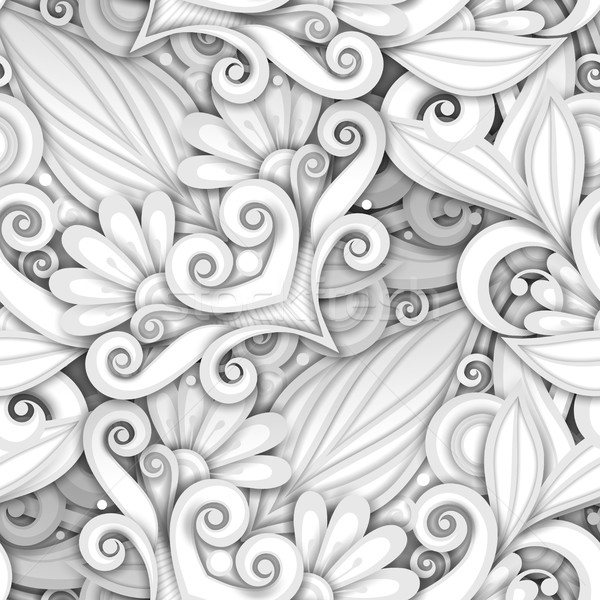 Vector White Seamless Pattern with Floral Ornament Stock photo © lissantee