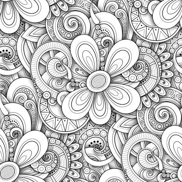 Monokróm végtelen minta virágmintás motívumok végtelen textúra Stock fotó © lissantee
