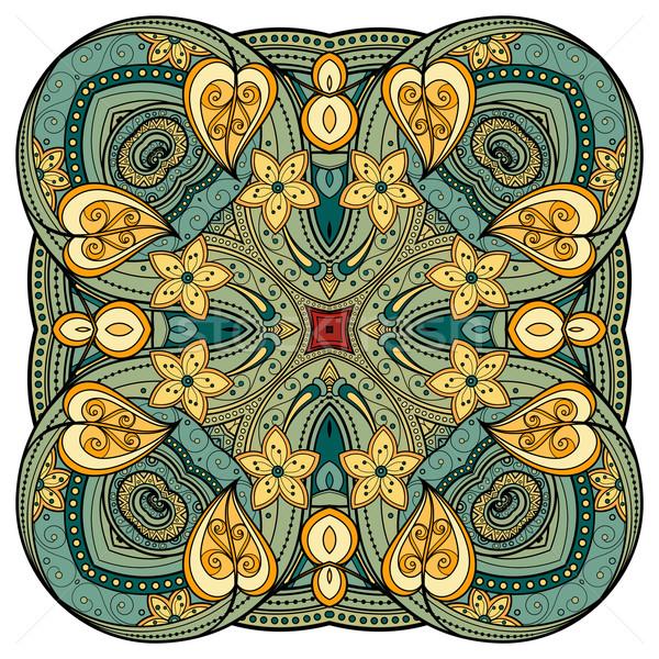 Vector Beautiful Deco Colored Contour Square Stock photo © lissantee