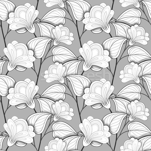 Сток-фото: вектора · бесшовный · монохромный · цветочный · шаблон · рисованной