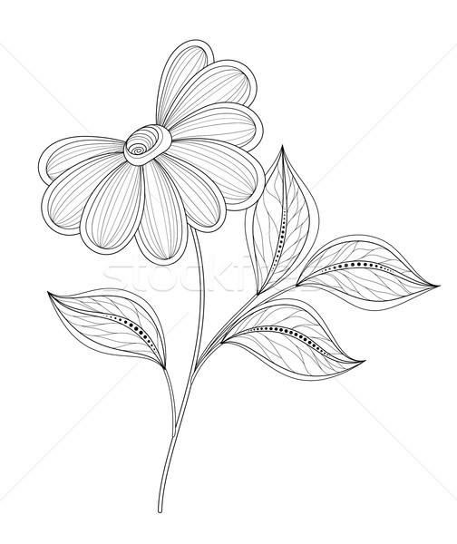 Vector Beautiful Contour Flower Stock photo © lissantee