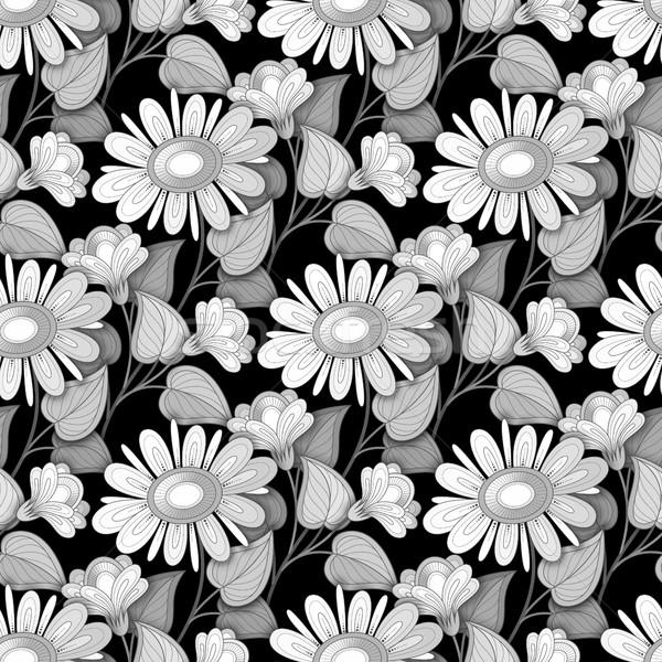Vecteur monochrome floral modèle dessinés à la main Photo stock © lissantee