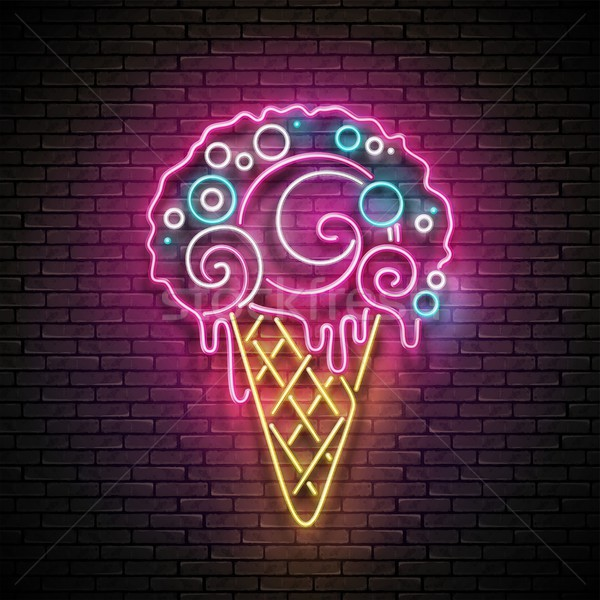 Vintage Glow Signboard with Ice Cream Cone and Ball Stock photo © lissantee