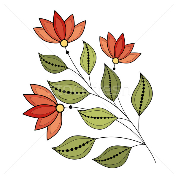 Vektor schönen Kontur Blume Vektor Blume Stock foto © lissantee