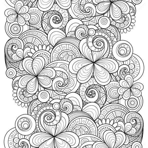 Stock photo: Vector Seamless Monochrome Floral Pattern with Decorative Clover