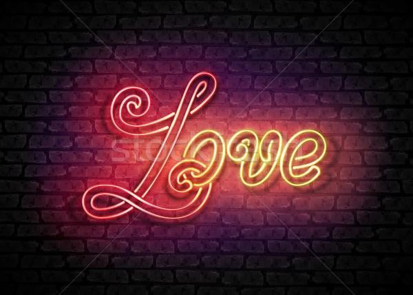 Klasszikus izzik szeretet felirat valentin nap üdvözlőlap Stock fotó © lissantee