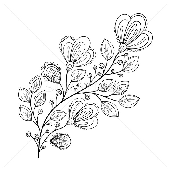 Photo stock: Vecteur · belle · monochrome · contour · fleur · vecteur · fleur