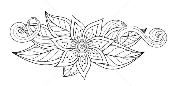 Vetor belo abstrato monocromático floral flores Foto stock © lissantee