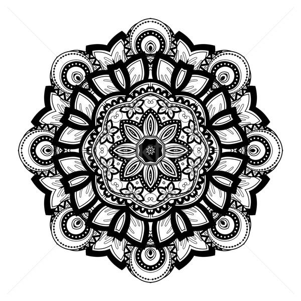 Vektor schönen schwarz Mandala ethnischen Stock foto © lissantee