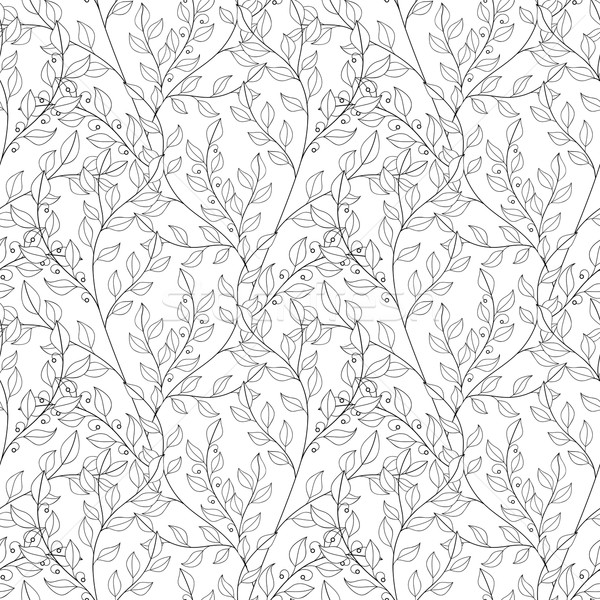 Vector Seamless Contour Floral Pattern Stock photo © lissantee