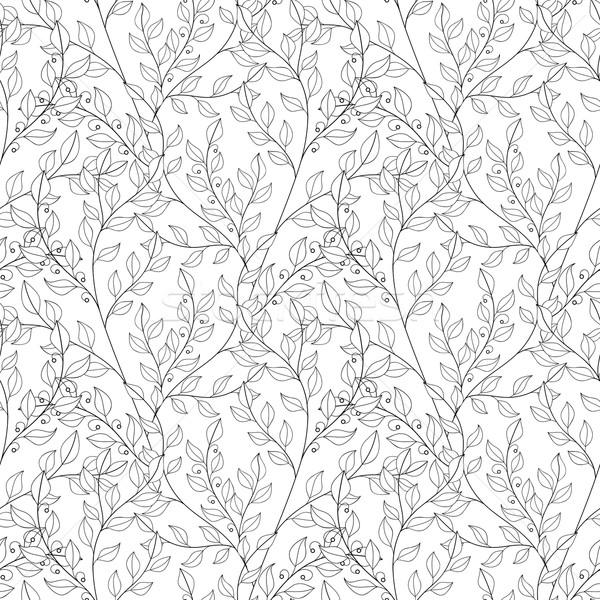 Vektor Kontur floral Muster Hand gezeichnet Stock foto © lissantee