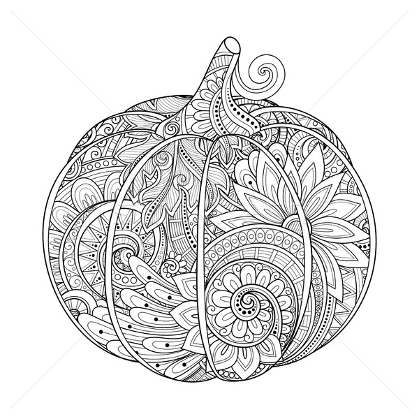 Vector Monochrome Decorative Pumpkin with Beautiful Pattern Stock photo © lissantee