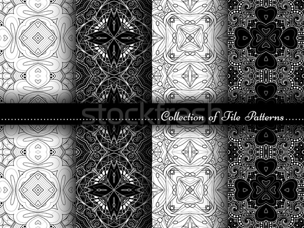 Stock photo: Vector Collection of Black and White Seamless Vintage Patterns