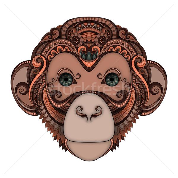 Wektora brązowy małpa głowie zielone oczy Zdjęcia stock © lissantee