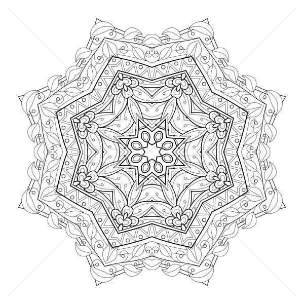 Vector Beautiful Deco Black Mandala Stock photo © lissantee