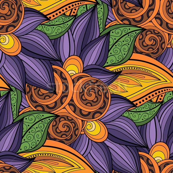 Vecteur floral modèle dessinés à la main texture Photo stock © lissantee